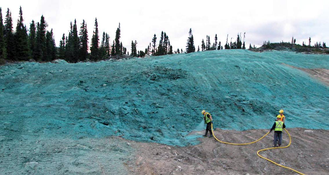 Ochrona skarp przed erozją - hydrosiew mata natryskowa (mulcz, klej do hydrosiewu, stabilizator, włókna zbrojące)